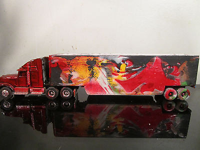 original hand painted on die cast truck graffiti abstract by artist musk yai