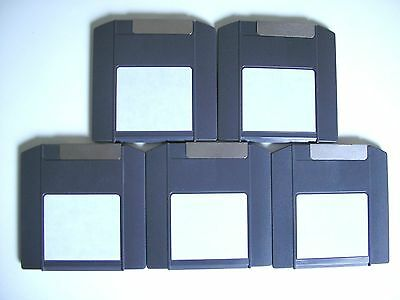 5 x IOMEGA ZIP 100 MB DISKS - PC FORMATTED - BLACK USED