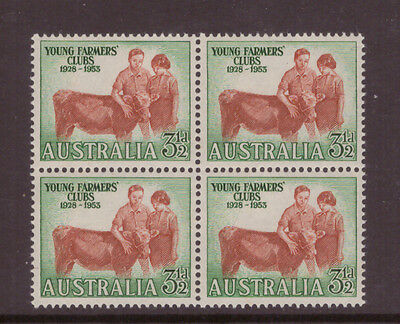 Australia 1953 Young Farmers Clubs SG267  block of 4 mint hinged stamps