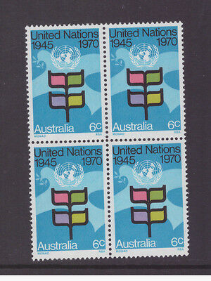 Australia 1970 25th Anniv. of United Nations SG476 block of 4 mint  stamps