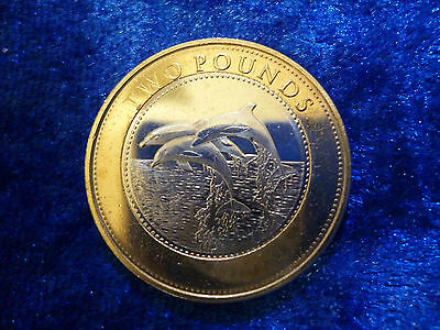Gibraltar £2 Two Pounds Dolphins 2015 lightly circulated