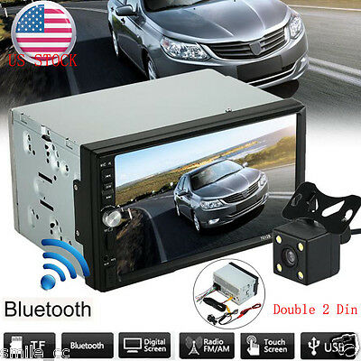"Double 2 DIN 7"" Car MP5 MP3 Player Bluetooth Touch Screen Stereo Radio HD+Camera"