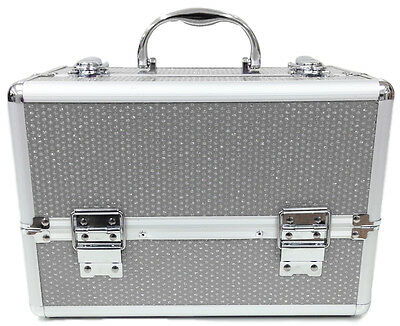 Large Silver Beauty Cosmetic Box Sequin Make Up Vanity Case Nail Tech Saloon Bag