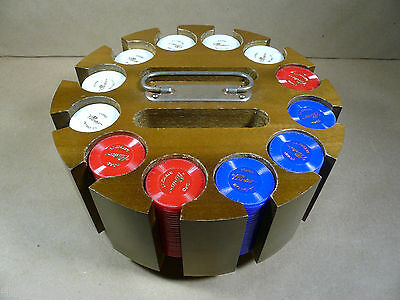 Vintage FORD PINTO INTRO 1971 Poker Chips Wood Carousel and Cover