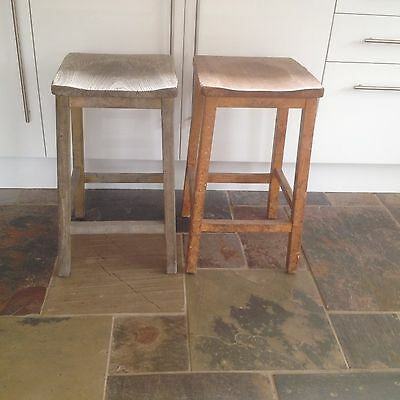 2 x Vintage Solid wooden stools science lab woodwork room stools PLYMOUTH PL9
