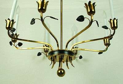 Italian Vintage Mid-Century Modern Sleek Brass Chandelier Black Enamel Leaves