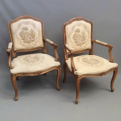 Pair of French louis xv style open armchairs   Ref c1166