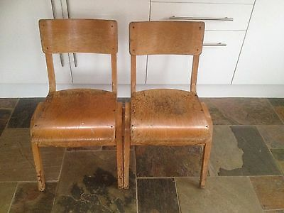 A Pair of Vintage Wooden Stacking Chairs / School / Church Chairs Very Solid PL9