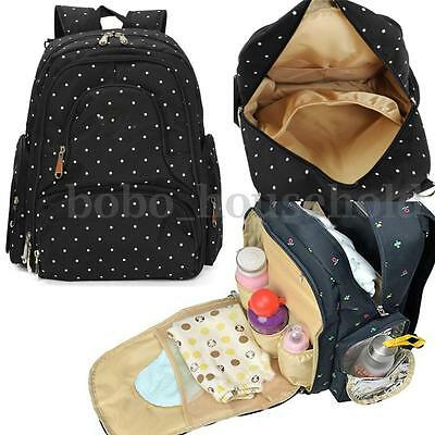 New Mummy Baby Travel Diaper Nappy Bag Multifunction Shopping Backpack Black