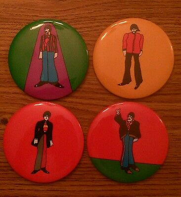 """The Beatles complete set of 1968 3 1/2"""" Yellow Submarine pinback buttons nm cond"""