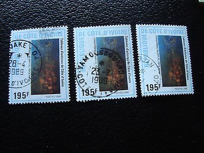 COTE D IVOIRE - timbre yvert/tellier n° 813 x3 obl (A27) stamp (E)