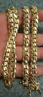 """26 """" 14k gold Plated Sterling Silver Miami Cuban Link  chain  9 mm 125 grams"""