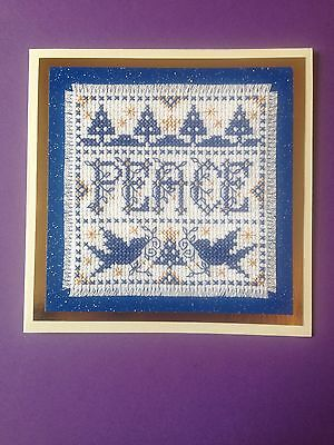 Completed Cross Stitch Christmas Card ( Peace )