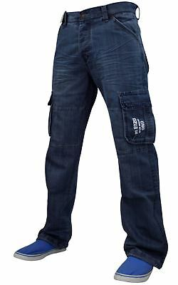 New Enzo Mens Combat Cargo Denim Fashion Pants Sizes 28 to 50 Jeans