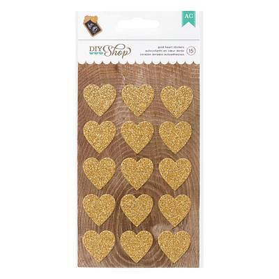DIY Shop Gold Glitter Heart Stickers American Crafts
