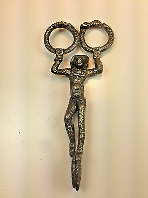 English Antique Sterling Silver Sugar Tongs Rare Monkey Acrobat Scissors 1900