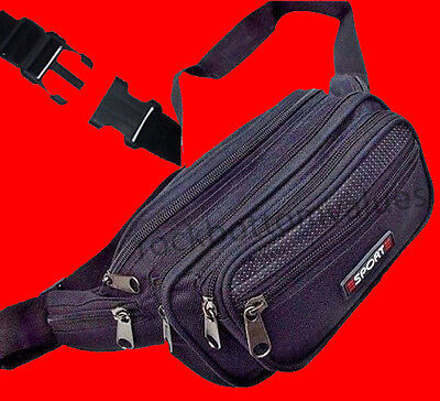 Black Waist Fanny Pack Belt Bag Pouch Travel Sport Hip Purse Men Women Bum