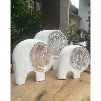 Fairtrade Set of 3 Silver tone Wooden Elephant Statues
