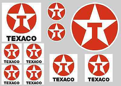 Texaco Sticker Set - Sheet Of 10 Stickers - Decals