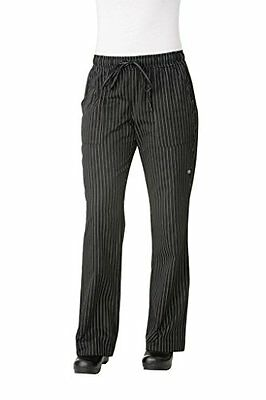 Chef Works Bwom-bps Women's Chef Pants, Black And White Pinstripe, Size Xs