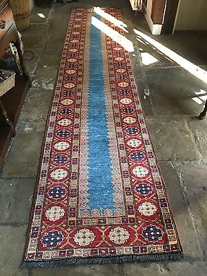 Fired Earth Persian Rug Runner HAND WOVEN - 12.3 x 2.5 ft - RRP £1600