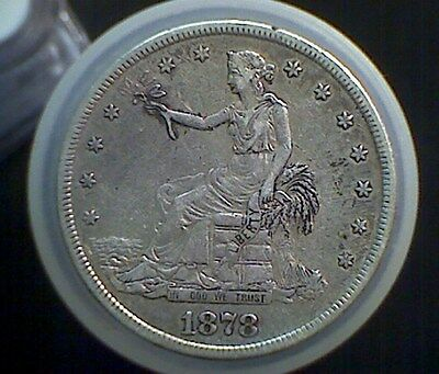 1878-s Trade Dollar ,  circulated XF details , Cleaned