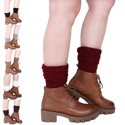 Crochet Knitted Shell Design Boot Toppers Knit Leg Warmers Boot Socks ESUS