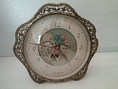 Vintage Petit Point Clock Ornate Brass Filigree Great Britain  England Working