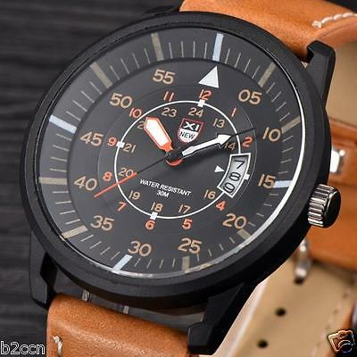 Men's Casual Leather Watch Date Quartz Analog Army Quartz Military Wrist Watches