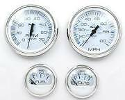 Faria Stainless & White Outboard 4 Gauge Set Tachometer Speedometer Fuel & Volt