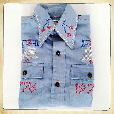 1976 MONTGOMERY WARD US 1776-1976 Independace 4th July Denim Dagger Collar Shirt