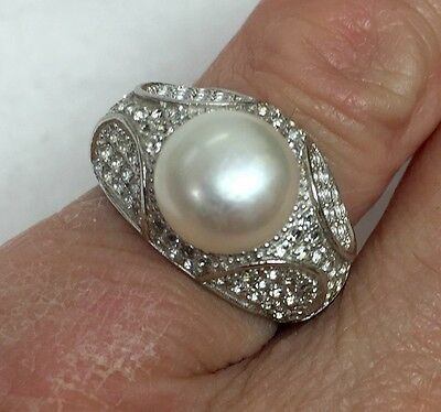 Sterling Silver Statement Cocktail Ring with Large Pearl Size 7
