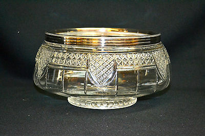 Vintage Cut Crystal Bowl with Silverplated Rim