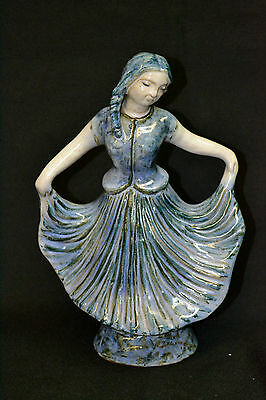Vintage L. Hjorth Pottery, Ceramic, or Stoneware Figure of a Young Girl Dancing