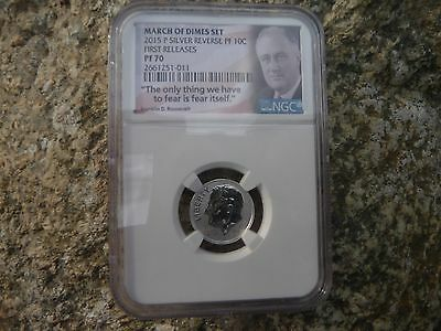 2015 p silver reverse proof Roosevelt dime NGC PF 70 First releases