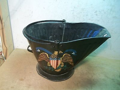 Old Painted Black Coal Bucket  Flower Pot Garden Planter