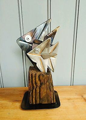 New~Metal Fish Nautical Art Abstract Sculpture Home Decor Xmas Gift 28% Off Sale