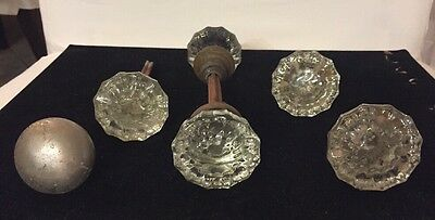Antique Vintage lot of 5 Salvaged Doorknobs - 2 Double Handles.