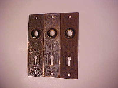 A LOT of 3 VINTAGE DOOR KNOB PLATES FANCY DESIGN
