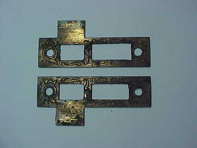 2 VINTAGE DOOR LOCK SIDE COVERS w/ FANCY DESIGNS BOTH SIDES