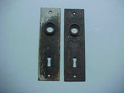 PAIR of VINTAGE DOOR KNOB PLATES FANCY DESIGN HAS SOME PAINT