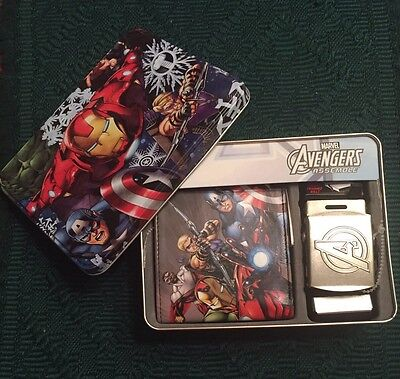 Marvel Avengers Assemble Wallet and Belt in Tin Can