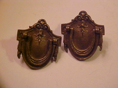 Pair Of Shield Shaped Vintage Draw Pulls