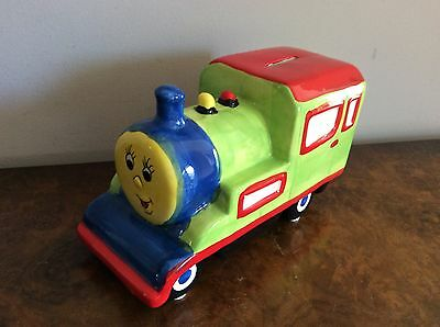 🇦🇺 Colourful Train Engine Ceramic Money Box Lime Red Blue Children Gift In Box
