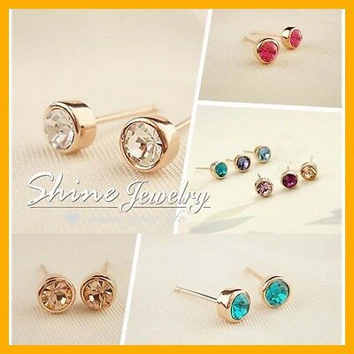 18K Gold Filled Birthstone 1CT SIMULATED Diamond SOLID lady earrings stud bezel