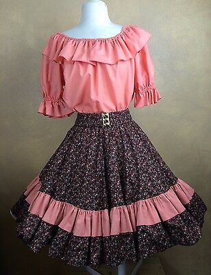 Square Dance Outfit Skirt Blouse Belt Brown Floral & Orange