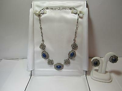 Antique Peruzzi Florence 800 Silver & Lapis Necklace and Earrings Set Signed