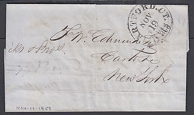 Usa 1851 Stampless Folded Letter Hartford 5Cts To New York