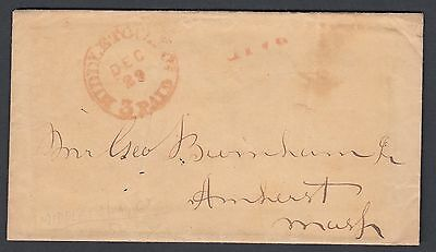 Usa 1854 '3 Paid' Stampless Cover Middletown Connecticut W/ Personal Contents