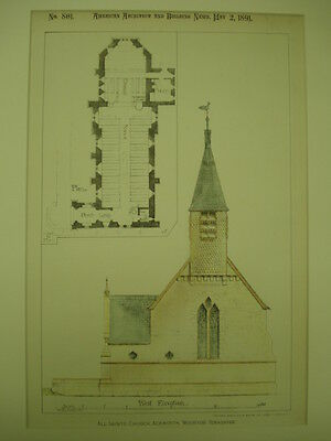 All Saints Church, Ackworth, Moortop, England, 1891, Original Plan